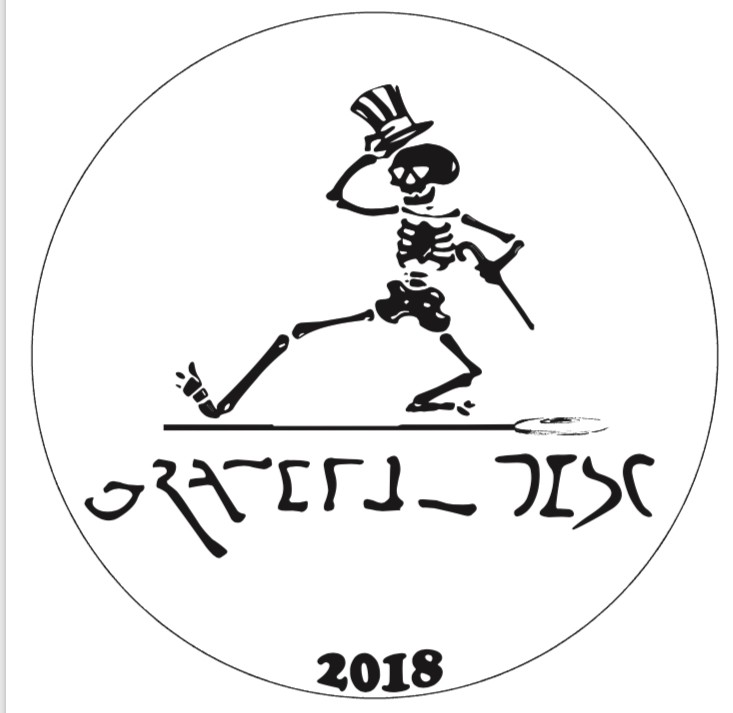 Grateful Disc 2018 graphic shows dancing skeleton with top hat
