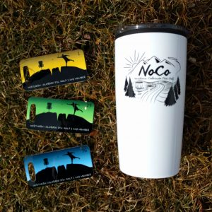 Northern Colorado Disc Golf 2018 member pack includes tag, sticker and tumbler