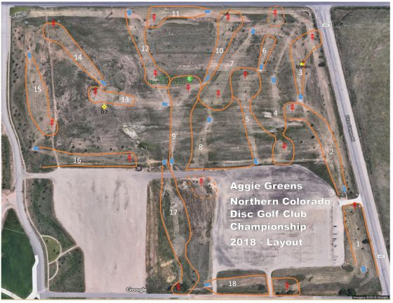 Map of course layout for NoCo Championships 2018